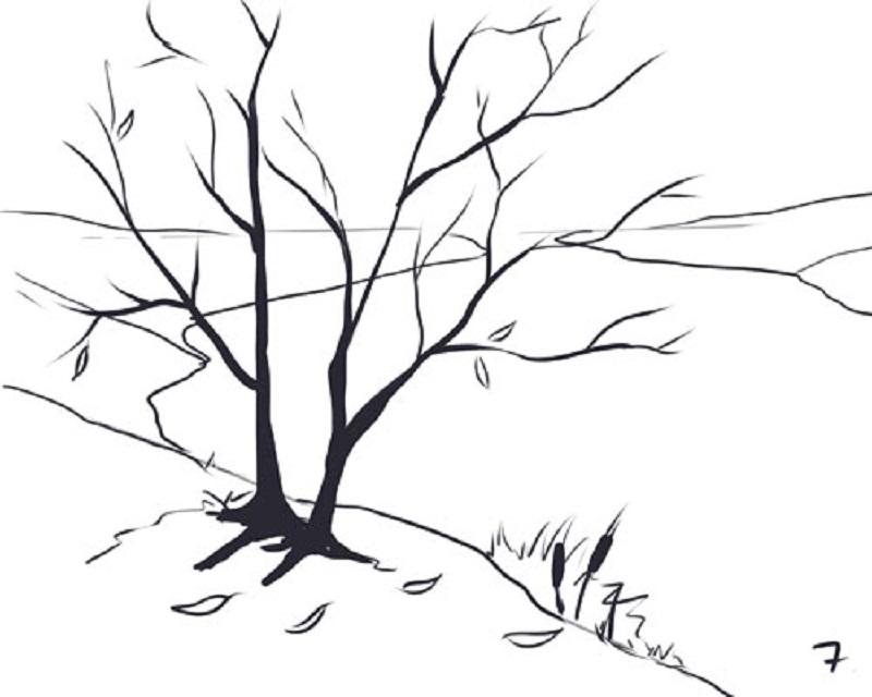 Patrón de madera de otoño pintado en etapas. Cómo dibujar paisajes ...